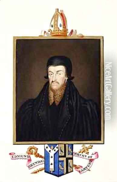 Portrait of Edmund Grindal Archbishop of Canterbury from Memoirs of the Court of Queen Elizabeth Oil Painting - Sarah Countess of Essex