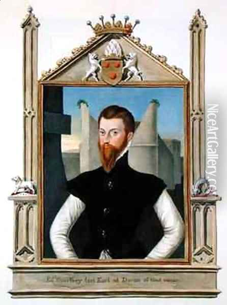 Portrait of Edward Courtenay Last Earl of Devonshire from Memoirs of the Court of Queen Elizabeth Oil Painting - Sarah Countess of Essex