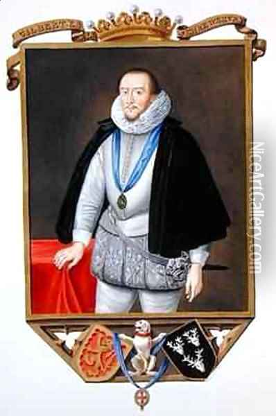 Portrait of Gilbert Talbot 7th Earl of Shrewsbury from Memoirs of the Court of Queen Elizabeth Oil Painting - Sarah Countess of Essex