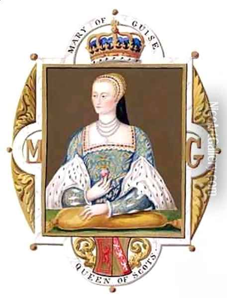 Portrait of Mary of Guise Queen of Scotland from Memoirs of the Court of Queen Elizabeth Oil Painting - Sarah Countess of Essex