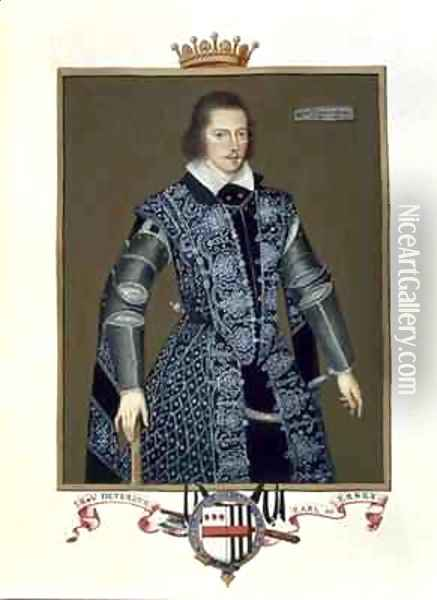 Portrait of Robert Devereux 2nd Earl of Essex from Memoirs of the Court of Queen Elizabeth Oil Painting - Sarah Countess of Essex