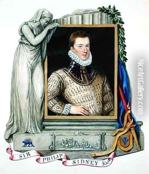 Portrait of Sir Philip Sidney from Memoirs of the Court of Queen Elizabeth Oil Painting - Sarah Countess of Essex