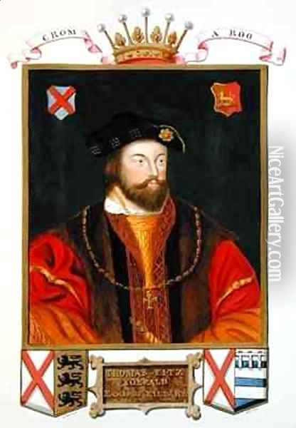 Portrait of Thomas Fitzgerald Lord Offaly 10th Earl of Kildare from Memoirs of the Court of Queen Elizabeth Oil Painting - Sarah Countess of Essex