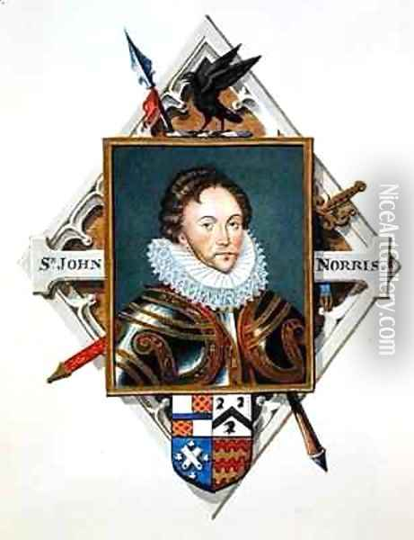 Portrait of Captain Sir John Norris from Memoirs of the court of Queen Elizabeth Oil Painting - Sarah Countess of Essex