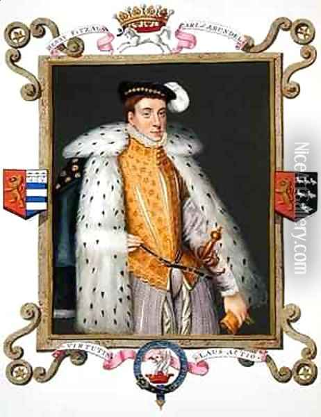Portrait of Henry Fitzalan 12th Earl of Arundel from Memoirs of the Court of Queen Elizabeth Oil Painting - Sarah Countess of Essex