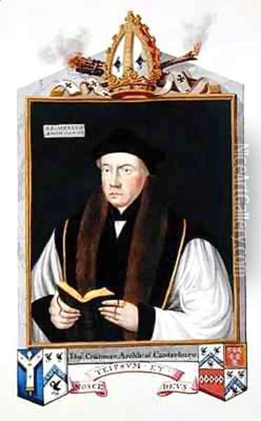 Portrait of Thomas Cranmer 1489-1556 Archbishop of Canterbury from Memoirs of the Court of Queen Elizabeth Oil Painting - Sarah Countess of Essex