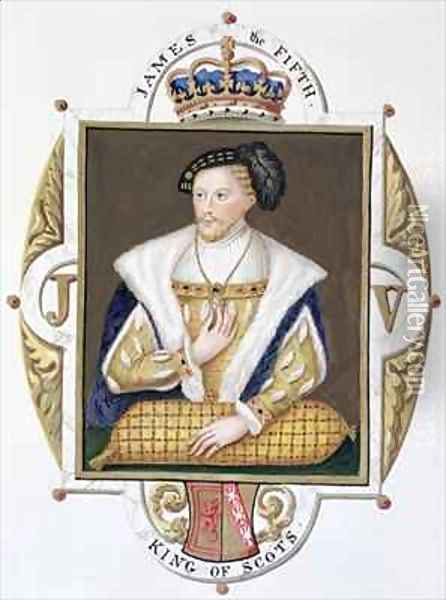 Portrait of James V King of Scotland from Memoirs of the Court of Queen Elizabeth Oil Painting - Sarah Countess of Essex