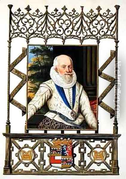 Portrait of Edward Somerset 4th Earl of Worcester from Memoirs of the Court of Queen Elizabeth Oil Painting - Sarah Countess of Essex