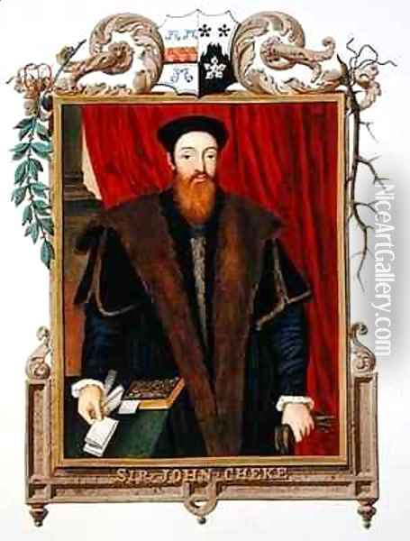 Portrait of Sir John Cheke from Memoirs of the Court of Queen Elizabeth Oil Painting - Sarah Countess of Essex