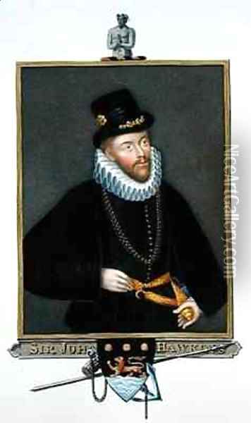 Portrait of Sir John Hawkins from Memoirs of the Court of Queen Elizabeth Oil Painting - Sarah Countess of Essex