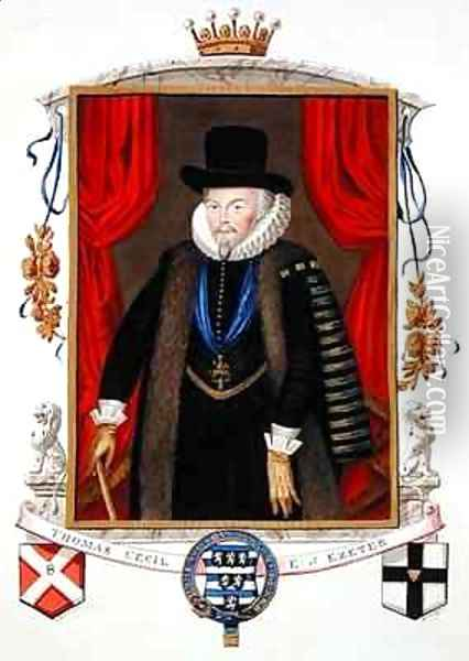 Portrait of Sir Thomas Cecil 1st Earl of Exeter 2nd Lord Burghley from Memoirs of the Court of Queen Elizabeth Oil Painting - Sarah Countess of Essex