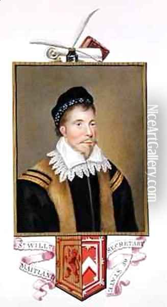 Portrait of Sir William Maitland of Lethington Secretary of State from Memoirs of the Court of Queen Elizabeth Oil Painting - Sarah Countess of Essex