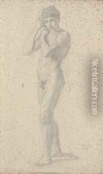 A Young Male Nude Oil Painting - Julius Schnorr Von Carolsfeld