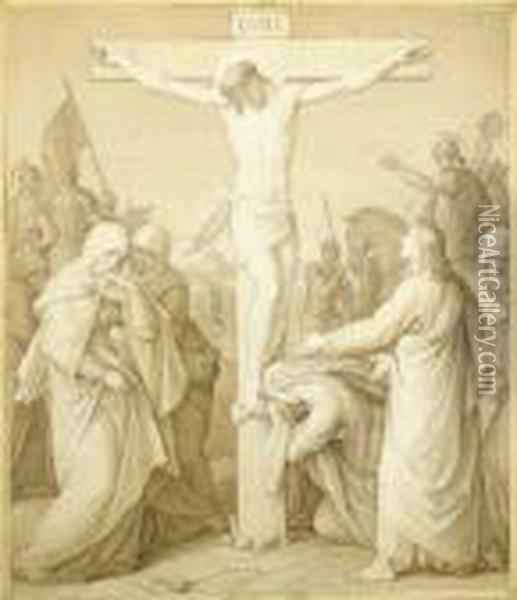 The Crucifixion Oil Painting - Julius Schnorr Von Carolsfeld