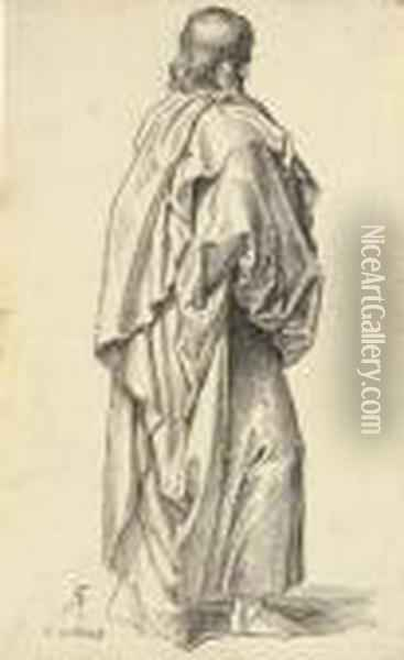 0n Apostle Standing In Profile To The Right ; A Partial Study Of The Same Oil Painting - Julius Schnorr Von Carolsfeld