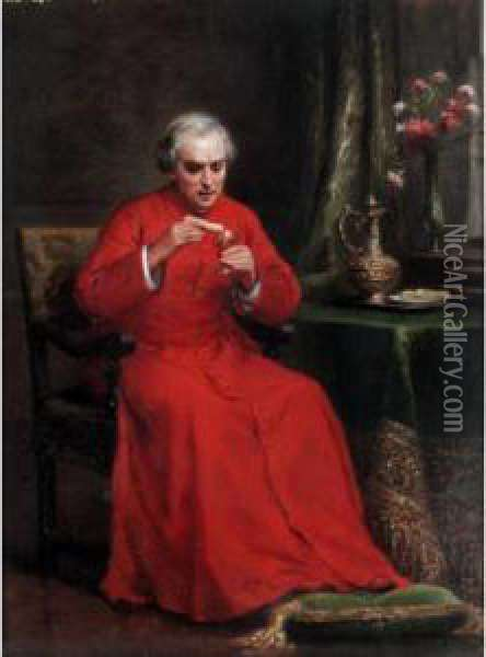 The Cardinal's Lunch Oil Painting - Charles Baptiste Schreiber