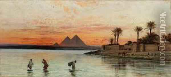 The Nile With The Pyramids Beyond Oil Painting - Peter Conrad Schreiber