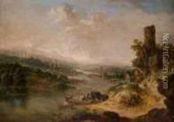Rheinlandschaft Oil Painting - Christian Georg Ii Schuz