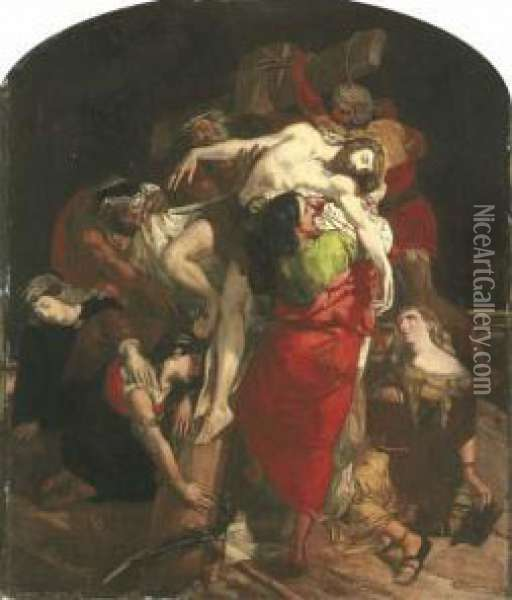 Study For 'the Descent From The Cross' Oil Painting - David Scott