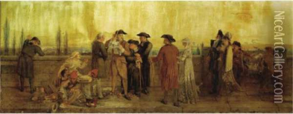 News From Paris - 1793 - Death Of The King! Oil Painting - William Bell Scott