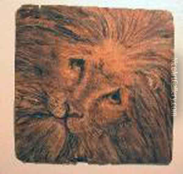 Study Of A Lion's Head Oil Painting - William Bell Scott