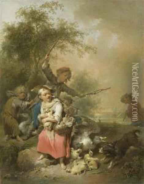 Peasant Children With Ducks And Geese Before A Landscape With Trees Oil Painting - Joseph Conrad Seekatz