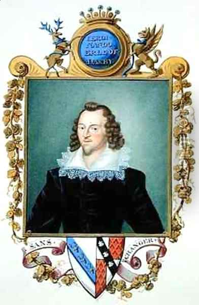 Portrait of Ferdinando Stanley 5th Earl of Derby from Memoirs of the Court of Queen Elizabeth Oil Painting - Sarah Countess of Essex