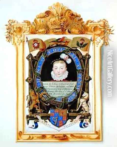 Portrait of James VI of Scotland Later James I of England as a boy c 1574 from Memoirs of the Court of Queen Elizabeth Oil Painting - Sarah Countess of Essex