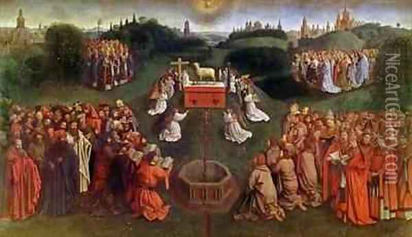 Copy of The Adoration of the Mystic Lamb from the Ghent Altarpiece 3 Oil Painting - Hubert & Jan van Eyck