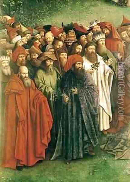 Copy of The Adoration of the Mystic Lamb from the Ghent Altarpiece 2 Oil Painting - Hubert & Jan van Eyck