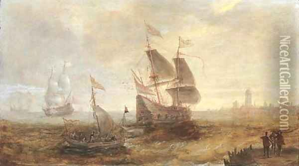 Men-o'-war and other shipping in a stiff breeze on the Schelde, a view of Antwerp beyond Oil Painting - Andries Van Eertvelt