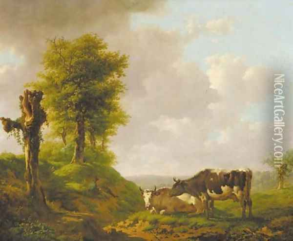 A hilly landscape with a cowherd and his cattle Oil Painting - Adolf Karel Maximilian Engel