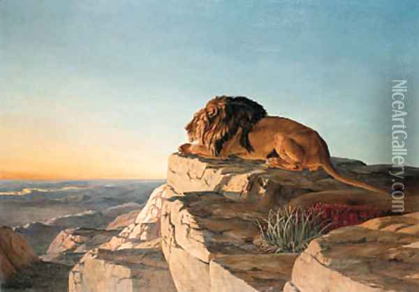 A Lion looking over a Valley from a Mountain Oil Painting - Urs Eggenschwiler