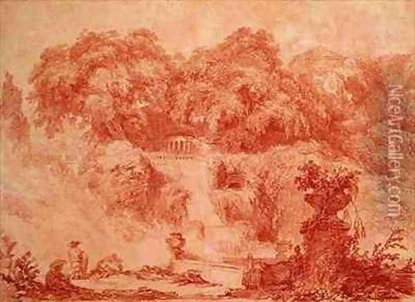 Gardens of the Villa dEste from the foot of the waterfall Oil Painting - Jean-Honore Fragonard
