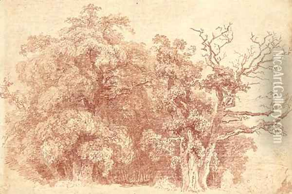 A study of trees at the edge of wood, with figures resting in the shade Oil Painting - Jean-Honore Fragonard