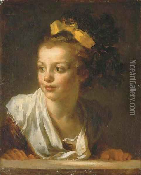 A young girl leaning on a window ledge Oil Painting - Jean-Honore Fragonard