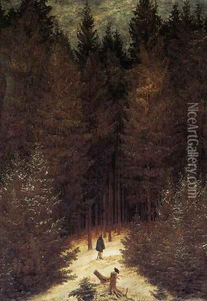 The Chasseur in the Forest 1814 Oil Painting - Caspar David Friedrich
