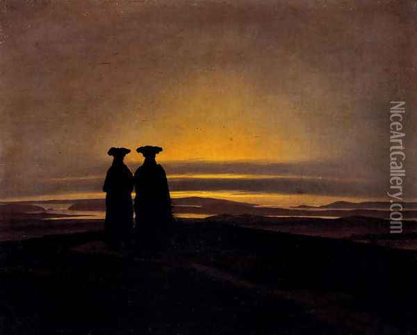 Sunset (Brothers) Oil Painting - Caspar David Friedrich