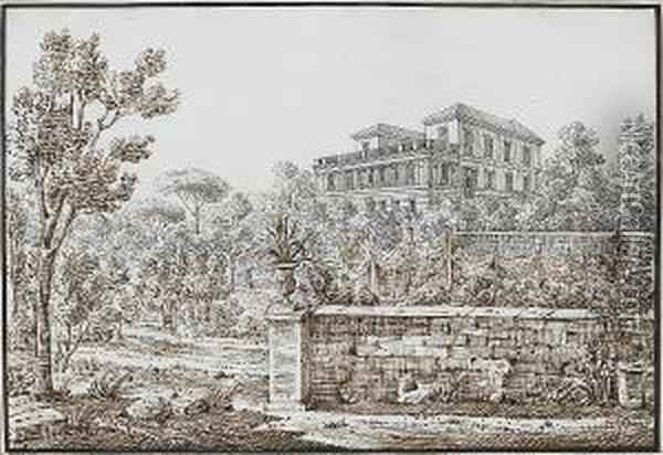 The House Of Ruffo,  Castellamare; The Castello Del Pizzo In Calabria; And The House Of Lady  Drummond, Naples Oil Painting - Antonio Senape