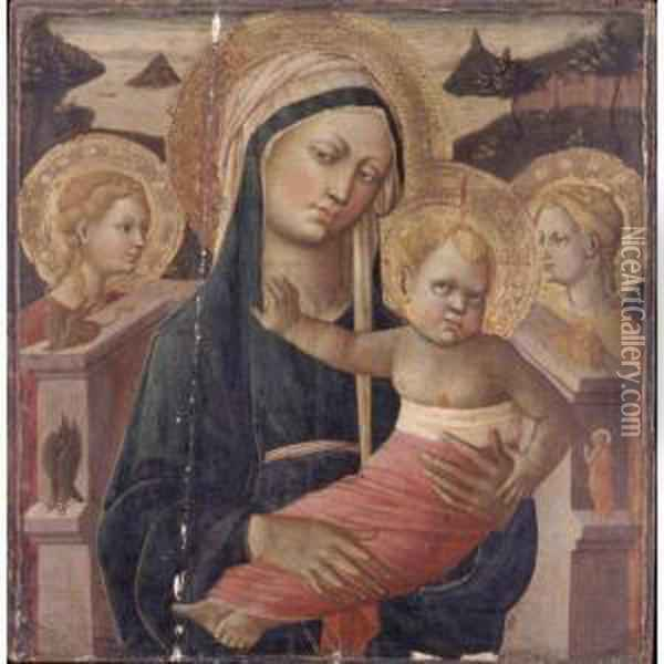 Madonna And Child Enthroned,  Flanked By Two Female Saints And The Symbols Of The Four Evangelists Oil Painting - Giovanni di ser Giovanni Guidi (see Scheggia)