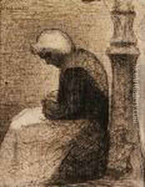 Assise Prs D'un Rverbre (woman Seated Near A Streetlamp) Oil Painting - Georges Seurat