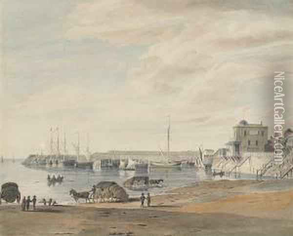 Margate, Kent From The Bathing  Place, Showing Garner's Circulating Library In The Distance Oil Painting - George Sidney Shepherd