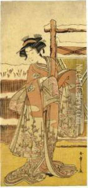 Osagawa Tsuneyo Ii In An Unidentified Role Oil Painting - Katsukawa Shunsho