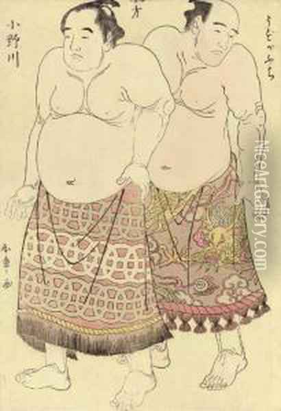 The Wrestlers Uzugafuchi And Onogawa Kisaburo Oil Painting - Katsukawa Shunsho