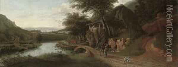 A Wooded River Landscape With Cattle Watering, A Drover On Adonkey, And A Dog On A Track Oil Painting - Jan Siberechts