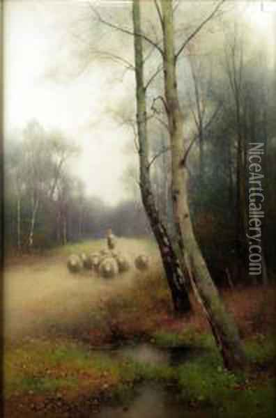 A Shepherd And Sheep In A Woodland Clearing Oil Painting - Benjamin D. Sigmund