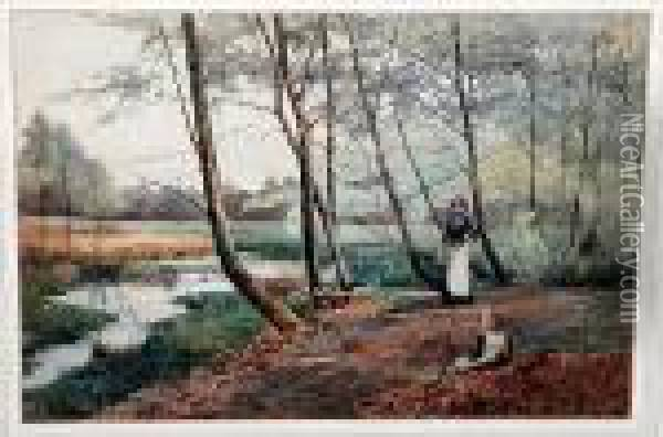 Woman And Child Gathering Wood By A Pond Oil Painting - Benjamin D. Sigmund
