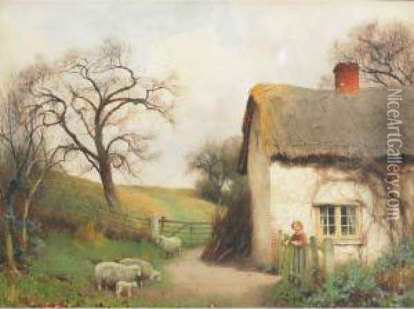 At The Cottage Gate Oil Painting - Benjamin D. Sigmund