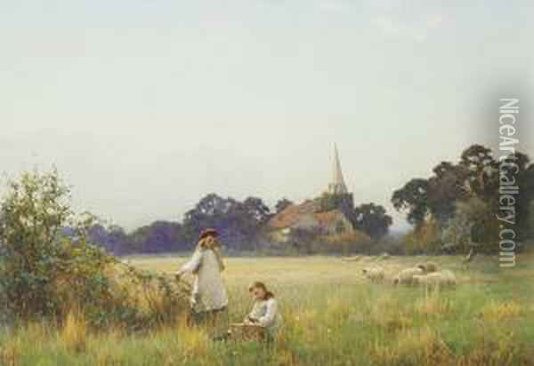 Young Girls Gathering Blossom Oil Painting - Benjamin D. Sigmund