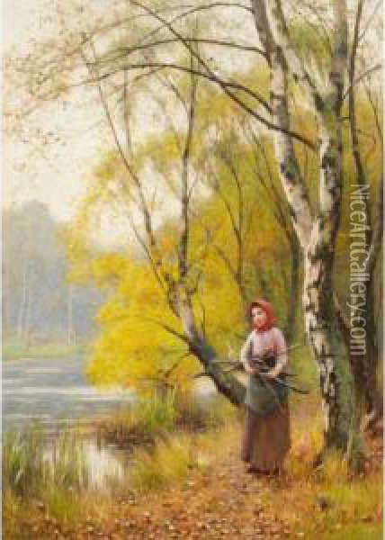 The Wood Gatherer Oil Painting - Benjamin D. Sigmund
